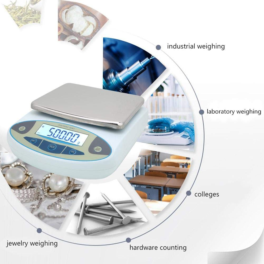 Digital Precision Scale, 5000g 0.01g Digital Precision Scale Lab Weighing Electronic Balance Jewelry Scale 100-240V(#2)