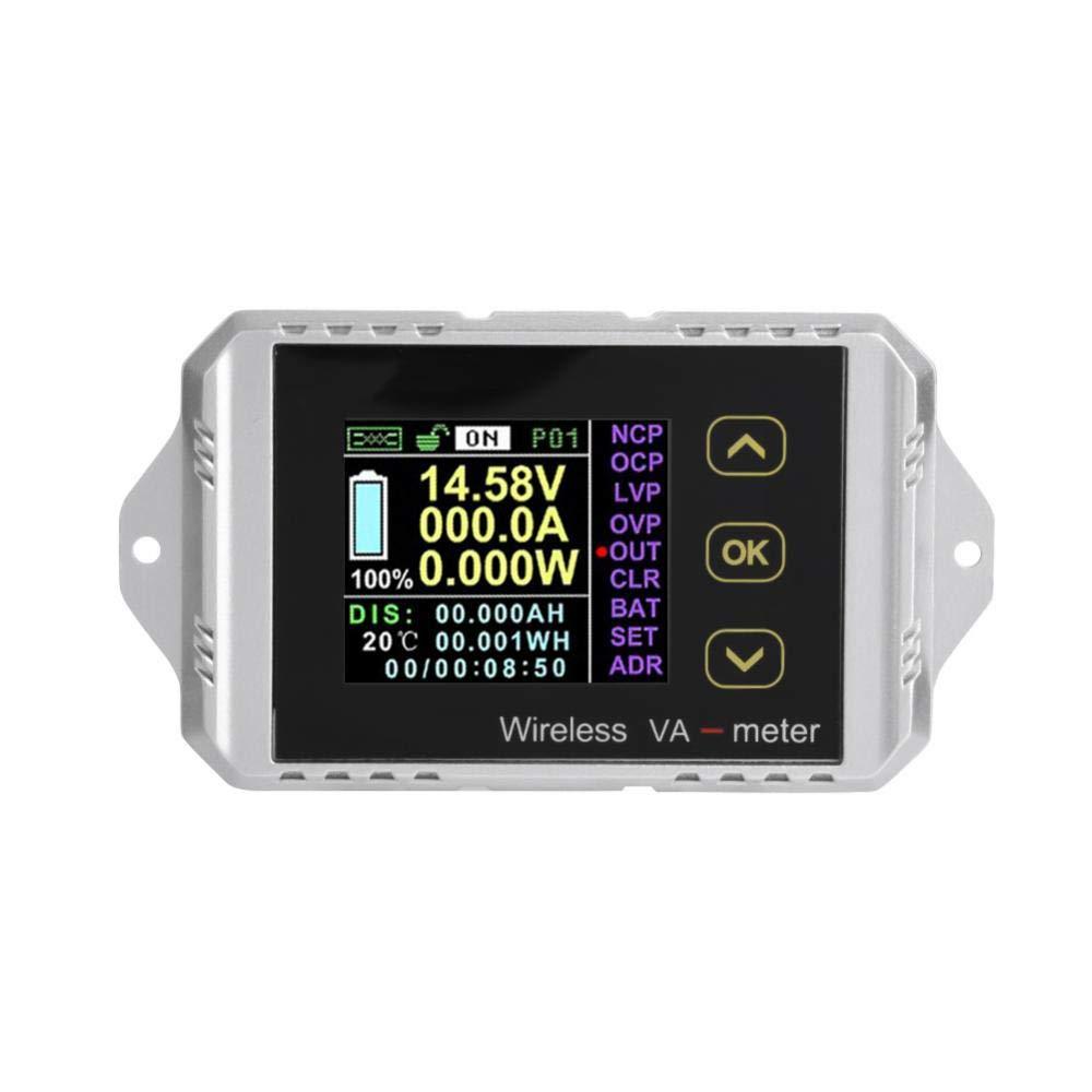 DC Ammeter, Wireless Multifunction Color LCD Screen DC Voltage Ammeter Power Meter Watt Tester Electric Digital Voltage Tester(VAT-1100)