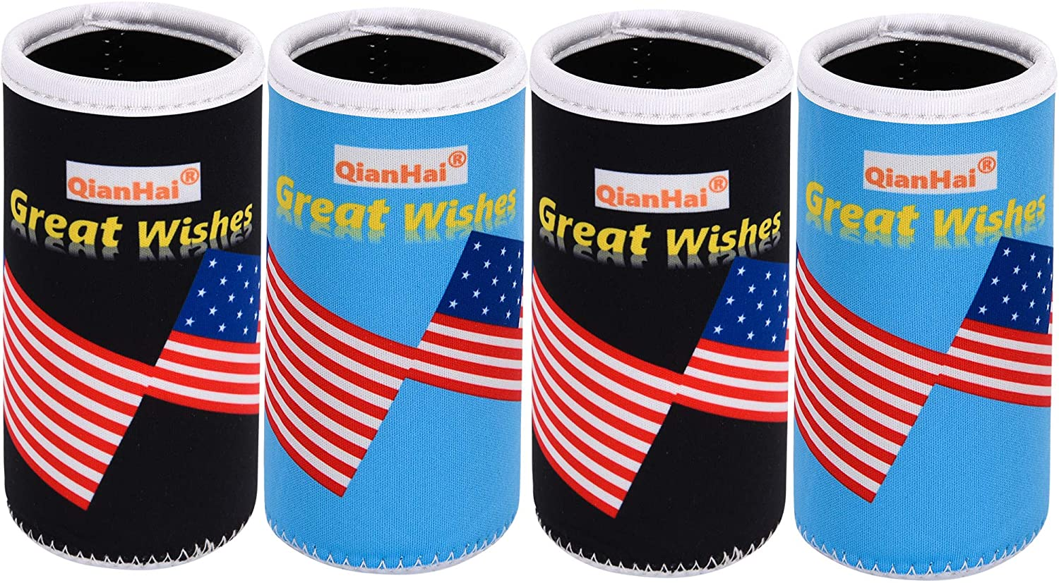 QianHai Slim Can Cooler Sleeves for White Claw Soda Insulated Sleeves for Beer Cans Coolers Michelob Ultra Can Holders for 12oz Skinny Fluid Energy Drink & Beer Cans (Black&SkyBlue 4 Pack)