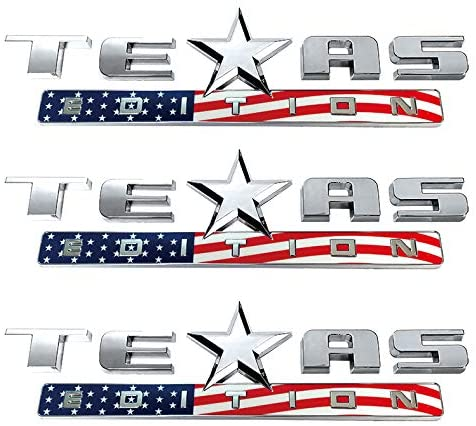 Mr.Brighton LED 3 Count Silver+Color American Flag 3D Texas Edition Emblem Compatible with Chevy Silverado Sierra Car Truck Auto Universal Decal