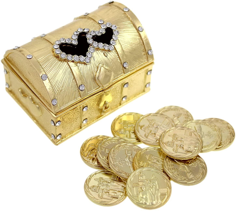 Wedding Unity Coin Set - Arras de Boda - Double Heart Box with Decorative Rhinestone Crystals 68 (Gold)