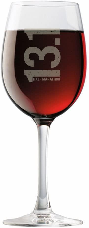 Gone For a Run 13.1 Half Marathon Vertical Engraved Wine Glass | Wine Glasses 19 oz.