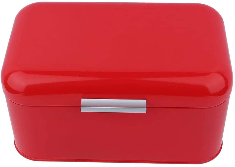 OhhGo Solid Color Retro Metal Bread Bin Box Large Capacity Kitchen Storage Container (Red)