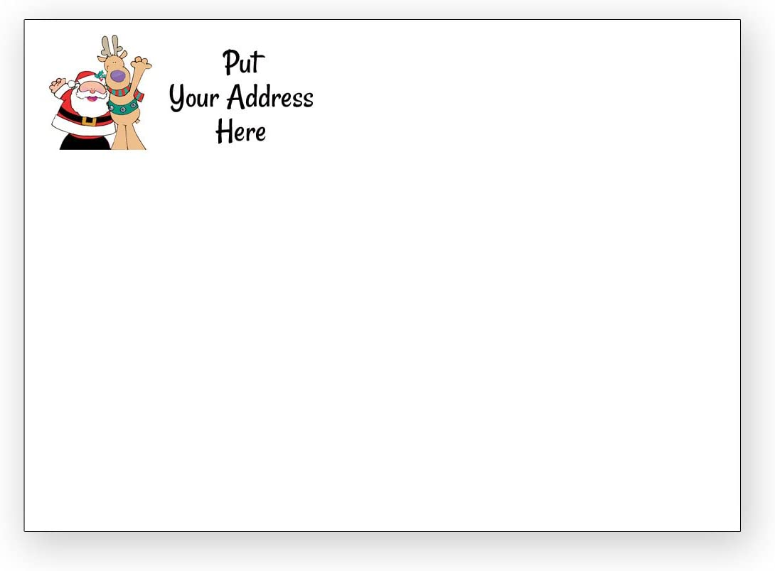 50 Custom Christmas A7 White Envelopes - Santa & Reindeer - Square Flap (5 1/4