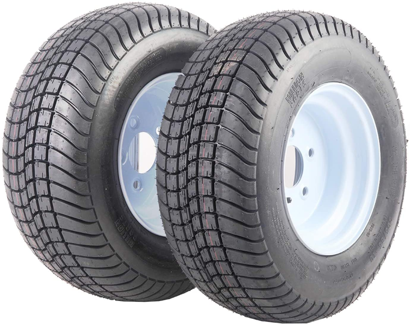 SUNROAD 2PCS Trailer Tires 20.5x8-10 205/65-10 White Wheels Tire Mounted 5x4.5 Bolt Circle with Rims Pattern P825