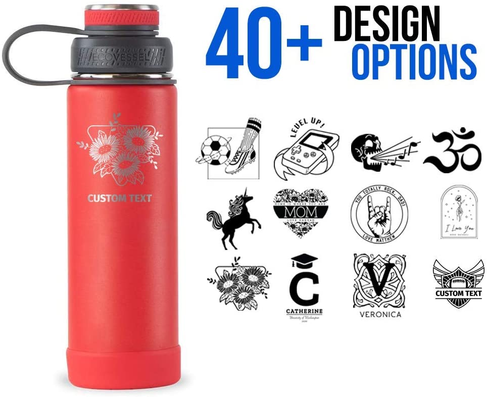 Personalized Vacuum Triple Insulated Sport Water Bottle Thermos -Stainless Steel Triple Wall Thermos with Lid & Strainer | Custom Laser Engraved 44 Options | Hot & Cold Drink Use 20 oz (Red-Custom)