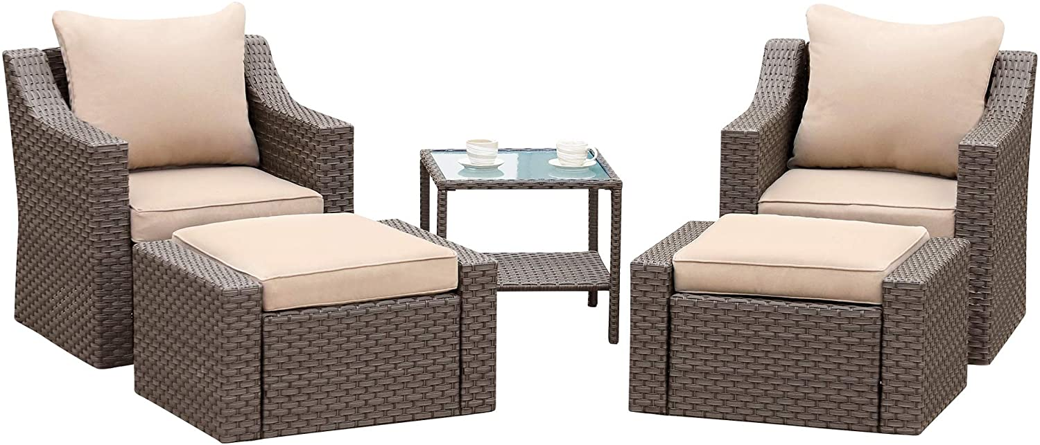 Stamo 5 Piece Outdoor Patio Conversation Furniture Sets with Glass Table and Ottomans, All Weather PE Rattan Wicker Cushioned Sectional Patio Sofa Chairs, Coffee