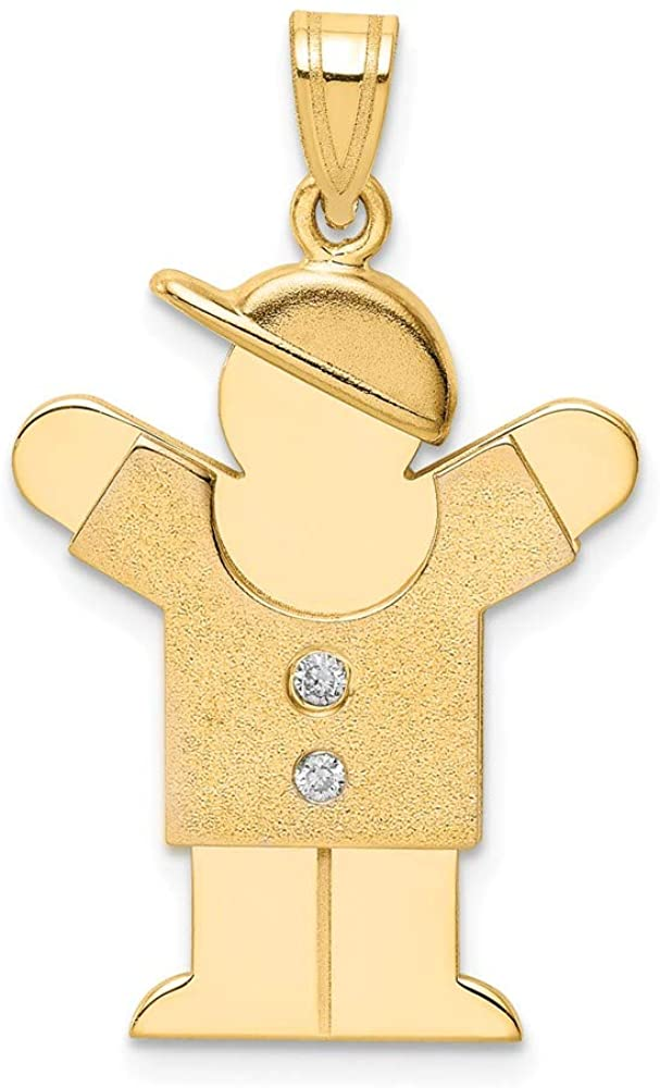 14k Yellow Gold Diamond Kid Pendant Charm Necklace Fine Jewelry For Women Gifts For Her