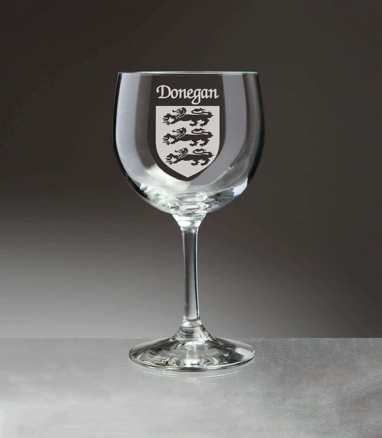 Donegan Irish Coat of Arms Red Wine Glasses - Set of 4 (Sand Etched)
