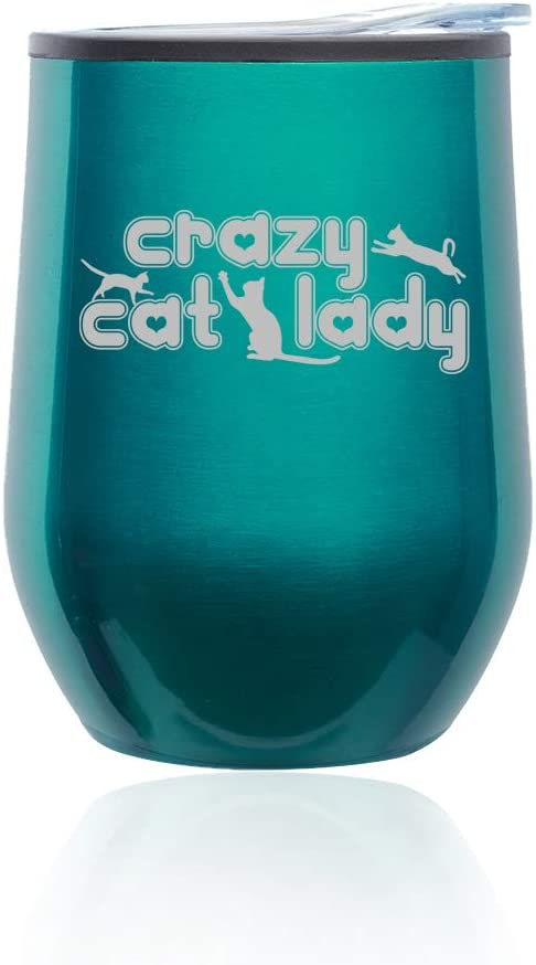 Stemless Wine Tumbler Coffee Travel Mug Glass With Lid Crazy Cat Lady (Turquoise Teal)