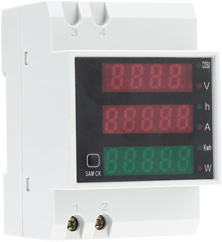 Power Meter AC Digital Multimeter, Kecheer AC 80-300V 100A Multi-functional Digital Din Rail Volt Amp Current Voltage Power Factor Meter Ammeter Voltmeter Built-in Transformer