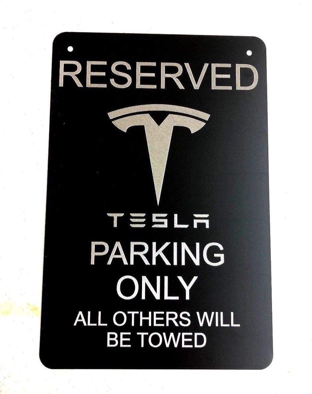 Diamond Etched Tesla Logo Parking Sign on 12