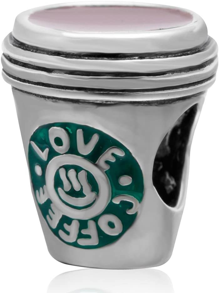 Love Coffee Cup Charms 925 Sterling Silver Green Mug Cup Charm Charms Bracelets