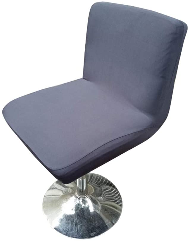 Deisy Dee Stretch Chair Cover Slipcovers for Low Short Back Chair Bar Stool Chair C114 (Dark Grey)