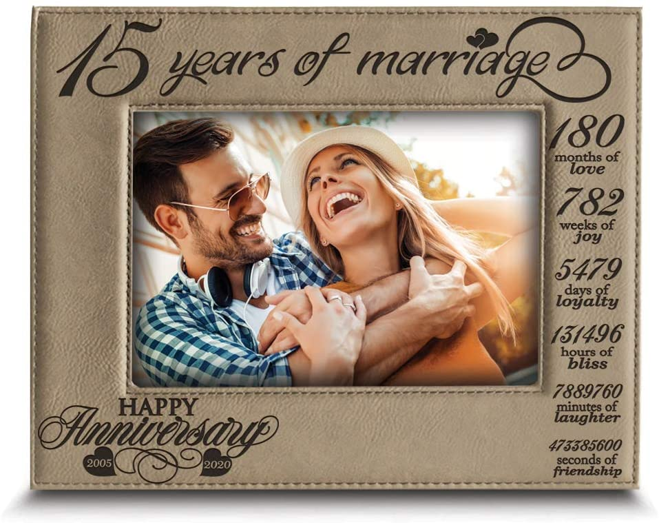 Bella BUSTA-15 Years of marriage-2005-2020-Months, Weeks, Days, Hours, Weeks, Minutes, Seconds-15th Anniversary- Engraved Leather Picture Frame (4 x 6 Horizontal)
