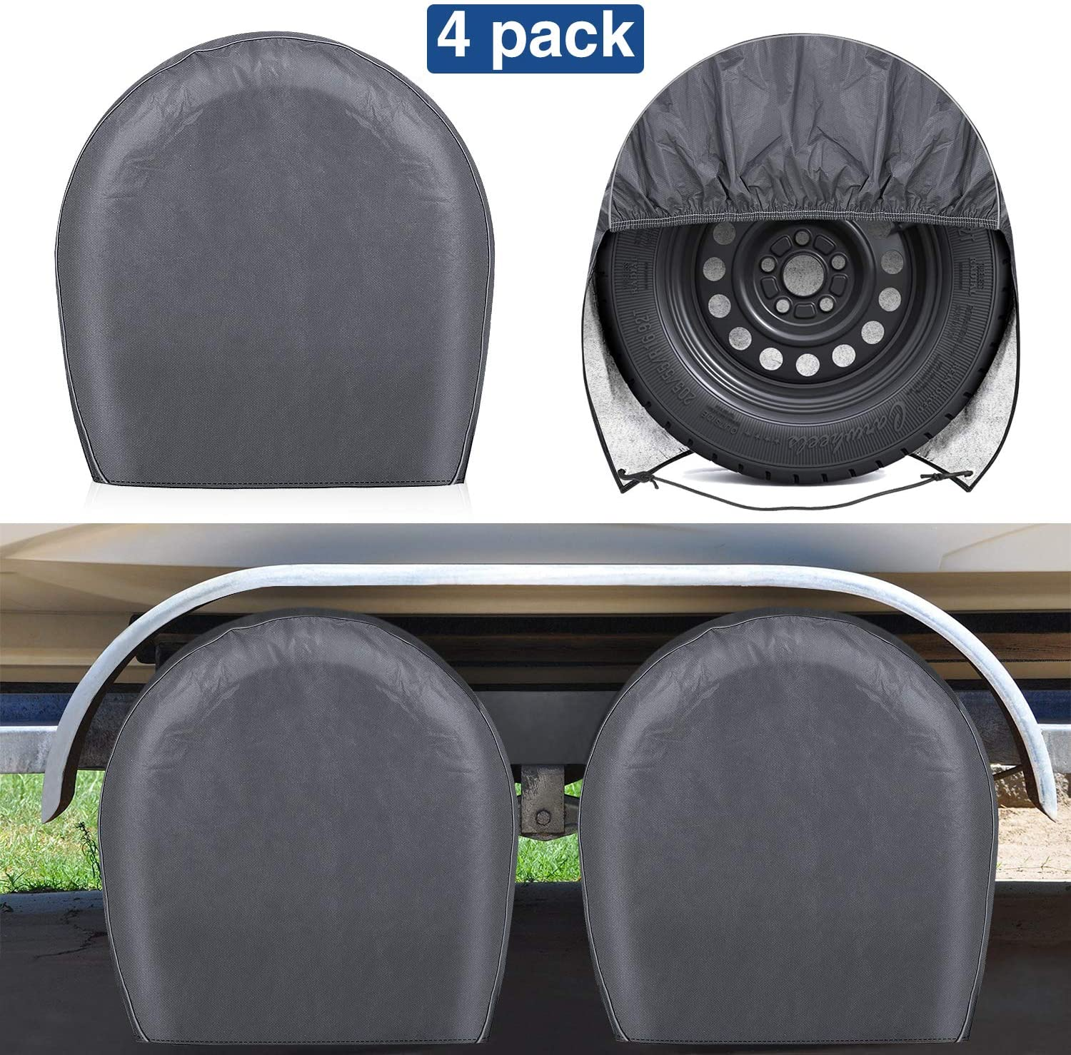 """RVMasking 2 Tire Covers 4 Pack - Heavy Duty Waterproof PVC Tire Protectors with Cotton Lining for Trailer Camper Truck Auto, Fits 26.75""""- 29'' Tire Diameters, Gray"""