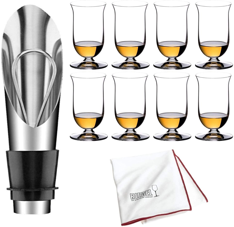 Riedel VINUM Single Malt Whisky Glasses, Set of 8 Includes Wine Pourer with Stopper and Polishing Cloth Bundle