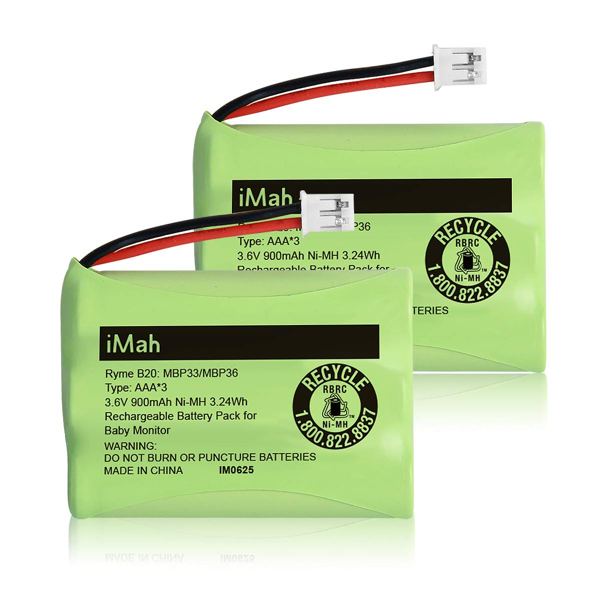 iMah Ryme B20 Battery Pack (Connector only fits Motorola MBP33/MBP36 Older 900mAh Version, Don't fit MBP33/MBP36 Newer 800mAh Version) Summer Infant 29030-10 29600-10, 2-Pack