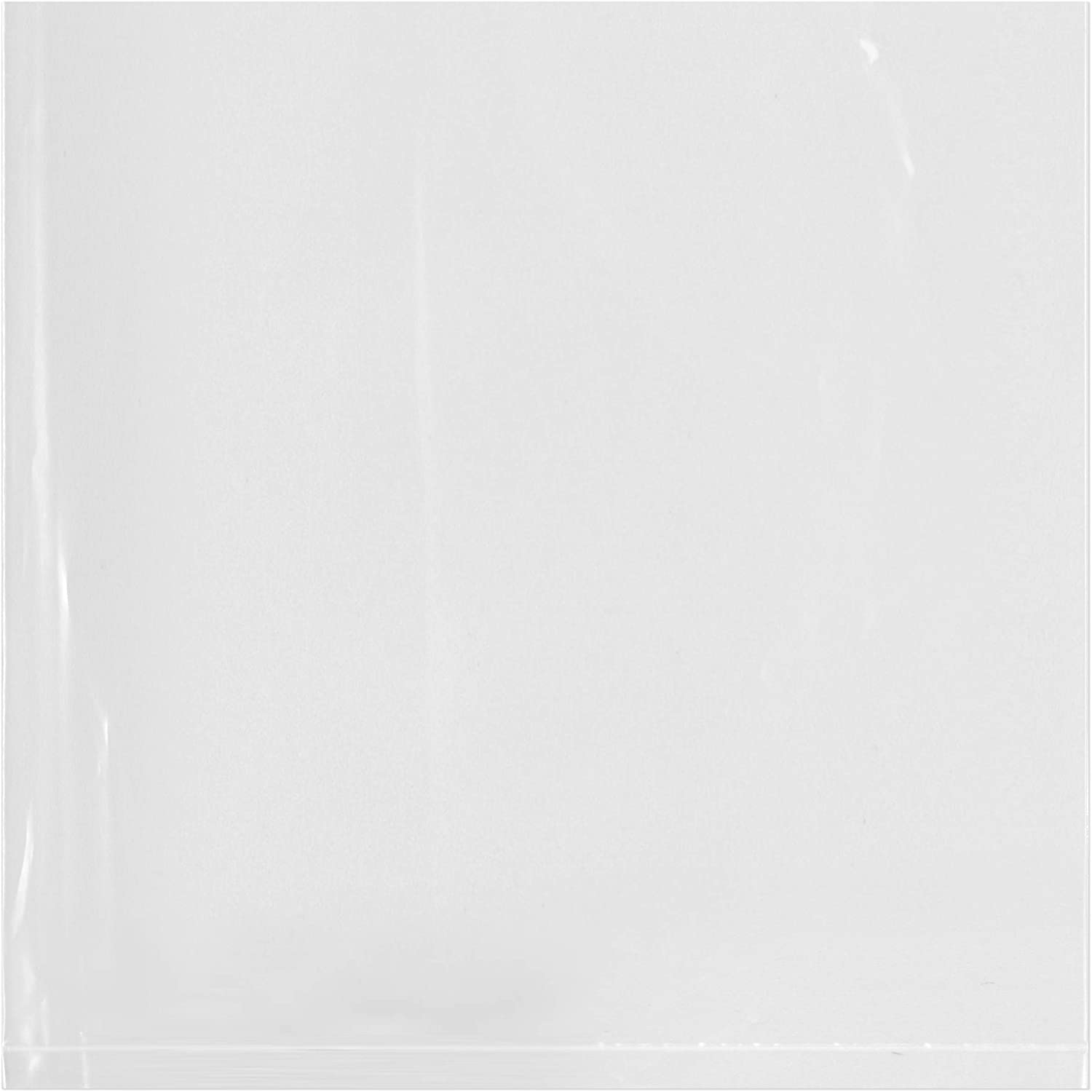Plymor Flat Open Clear Plastic Poly Bags, 1.25 Mil, 6