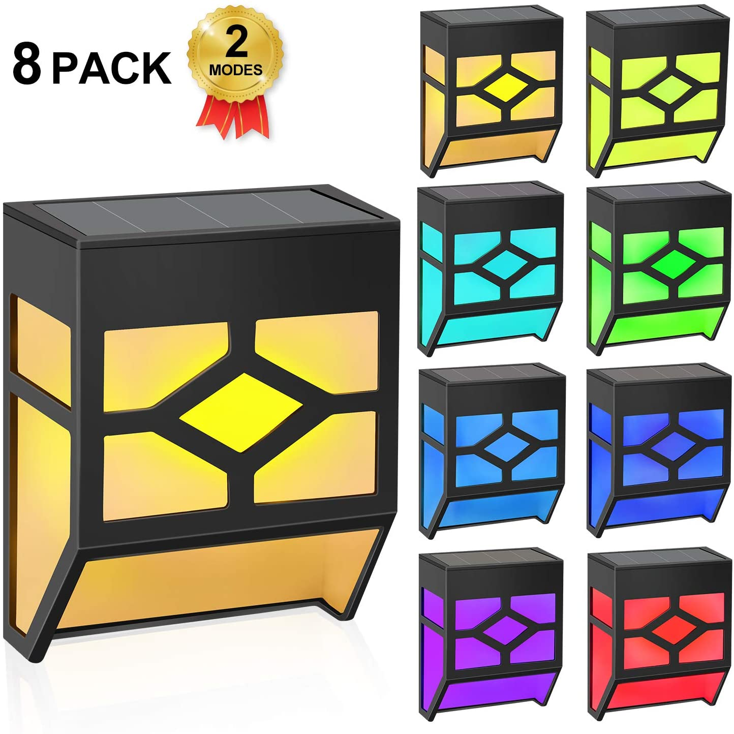 Solar Lights Outdoor Decorative LED Solar Fence Lights RGB Waterproof Wireless Solar Deck Lights, 2 Modes Step Lights, Wall Lights for Stairs, Deck,Yard, Fence and Patio, Pack of 8