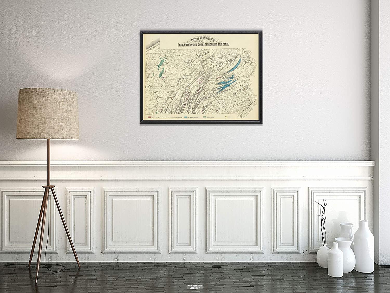 1872 Map State Atlas Penn. Iron, Coal, Petroleum, zinc Vintage Fine Art Reproduction Size: 18x24 Ready to Frame