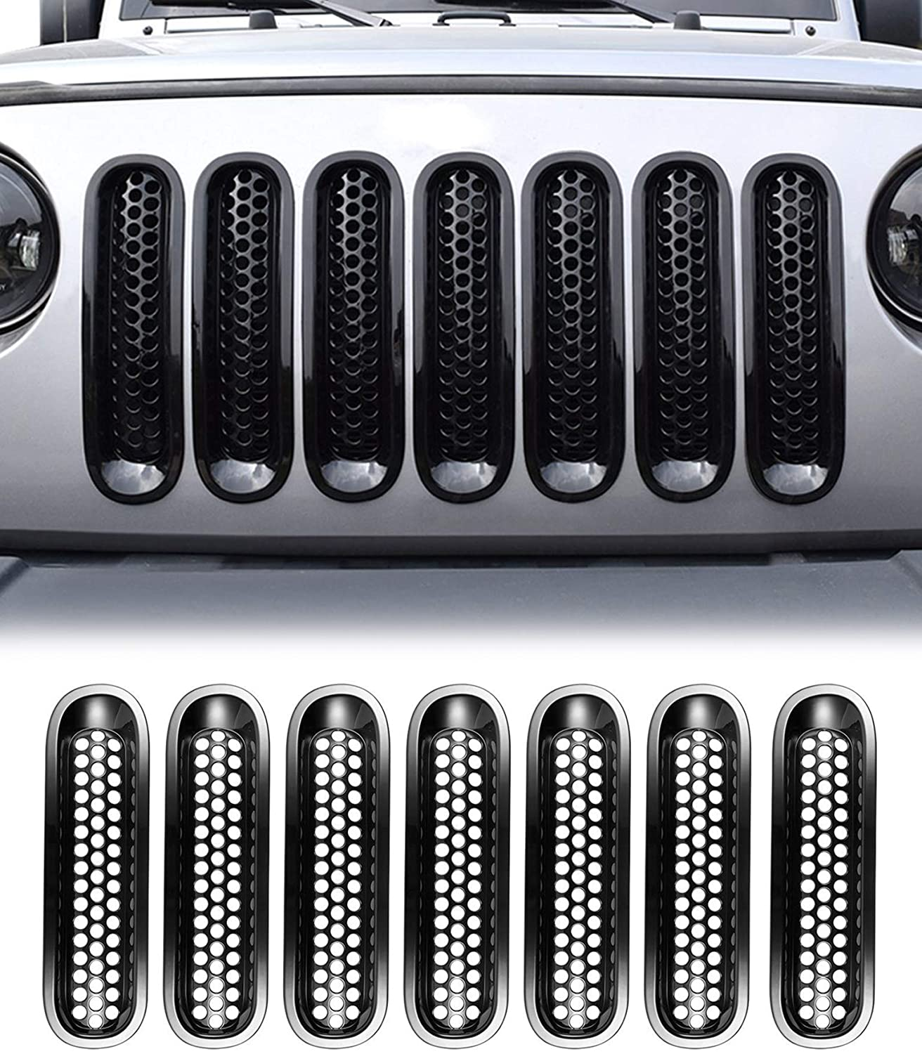 Landrol Glossy Black Front Grill Mesh Inserts 7 Pcs replacement for 2007-2015 Wrangler JK Sports Sahara Freedom Rubicon 2 & Unlimited 4 Doors