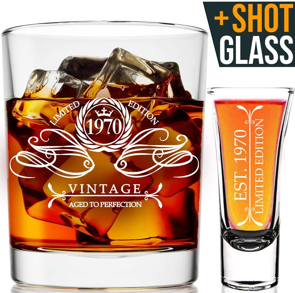 1970 50th Birthday Gifts For Men & Women 9oz Whiskey Glass and 2oz Shot Glass | Funny Present Ideas Him, Her, Husband, Wife, BFF | Party Favors, 50th Anniversary, 50th Birthday Decorations
