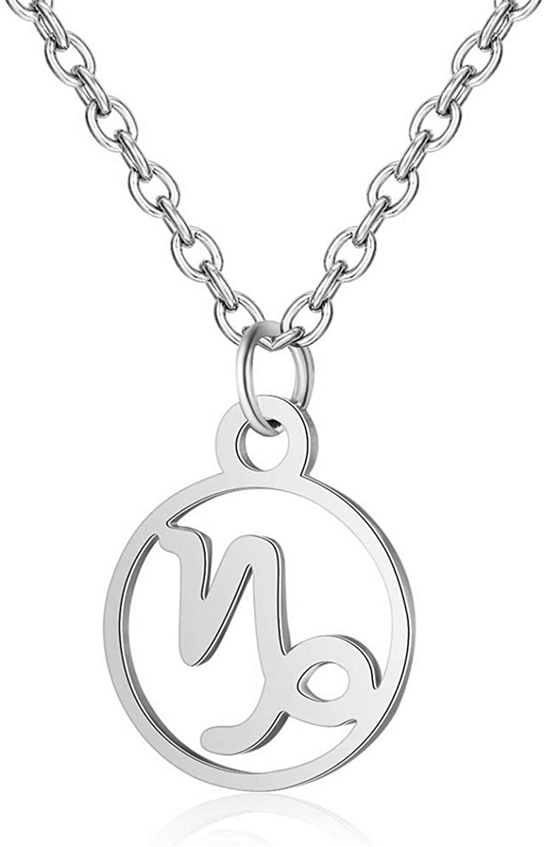 IDB Stainless Steel Astrology Constellation Zodiac Sign Pendant Necklace - Approx 1/2 Inch Pendant and 16