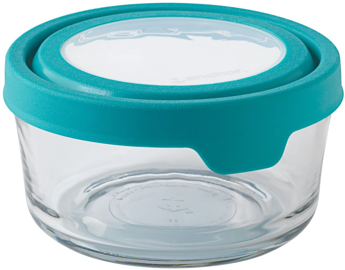 Anchor Hocking TrueSeal Glass Food Storage Container with Lid, Teal, 4 Cup