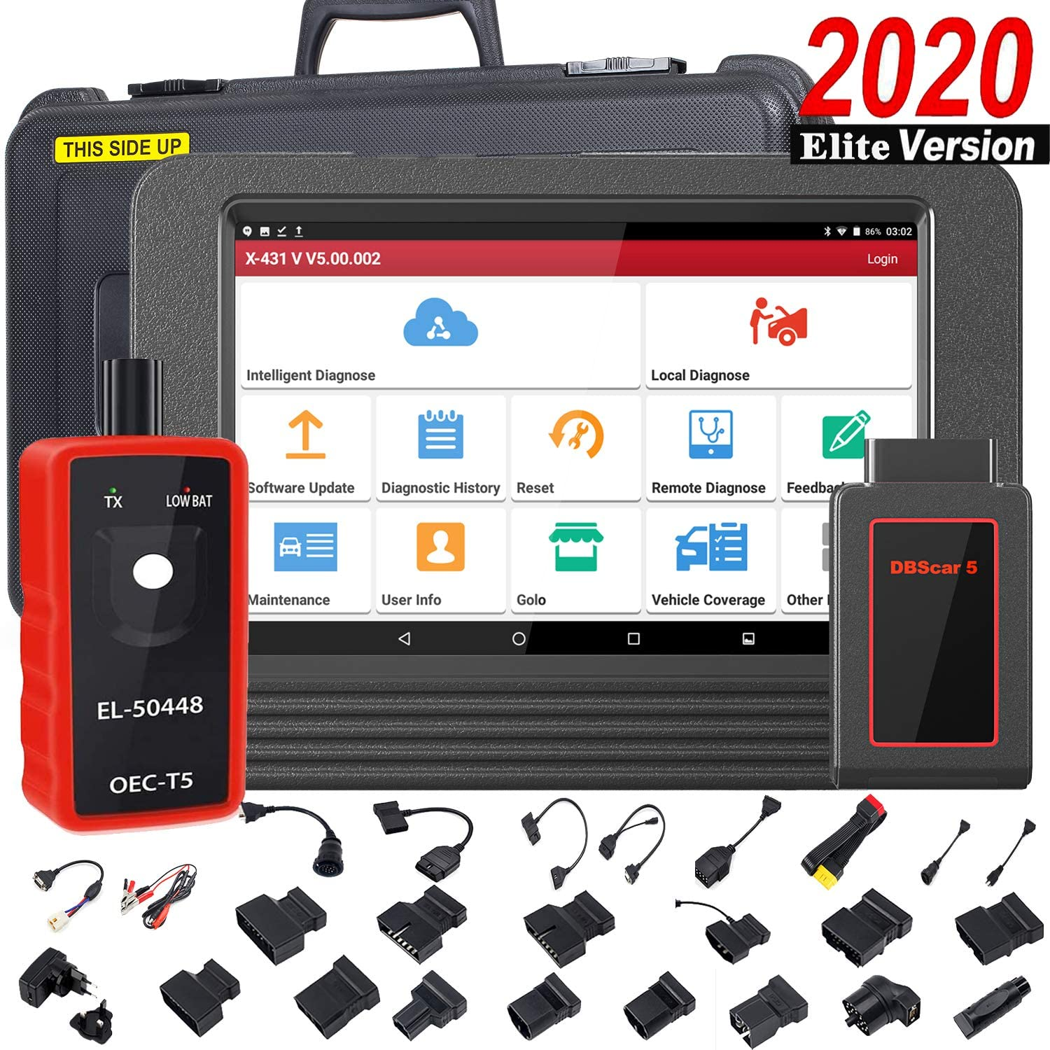LAUNCH X431 V PRO Bi-Directional Scan Tool OBD2 Scanner Full System Scanner with ECU Coding,Actuation Test,Remote Diagnostic,30+ Reset Functions,Full Connector Kit + EL-50448 Tool