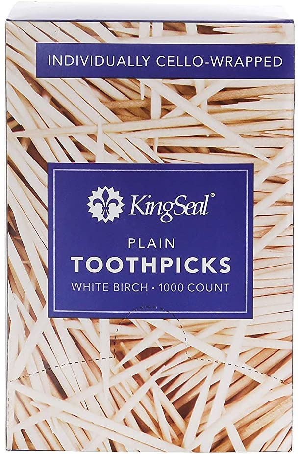 KingSeal Natural Birch Wood Toothpicks, Individually Cello Wrapped, Plain, Unflavored, 2.5 Inch Length - 4 Packs of 1000 per Pack