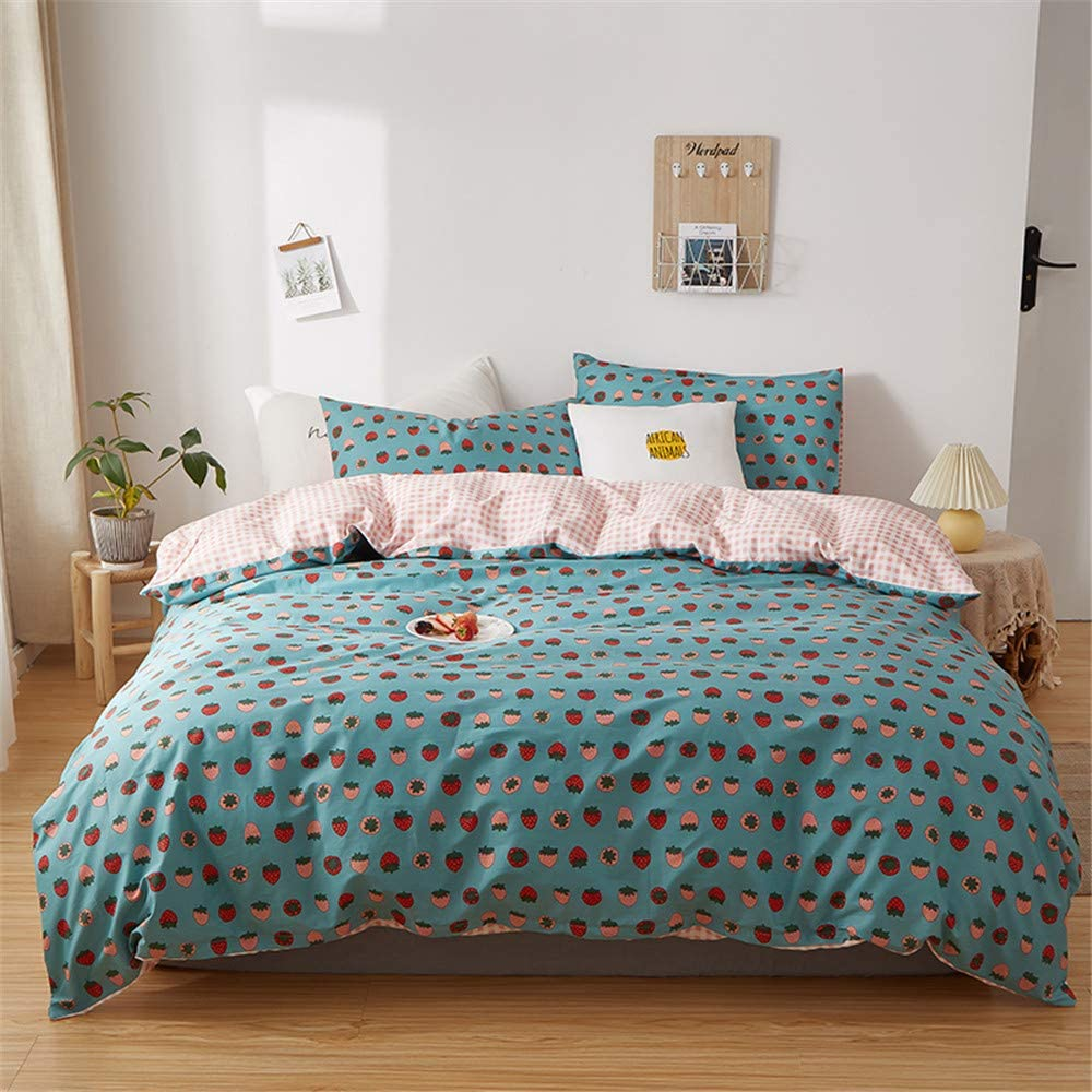 EAVD Fruit Style Red Pink Strawberry Bedding Twin for Girls Boys Ultra-Soft 100% Cotton Blue Bedding Duvet Cover with 2 Pillowcases Super Cute Strawberry Duvet Cover with Zipper Closure 4 Ties
