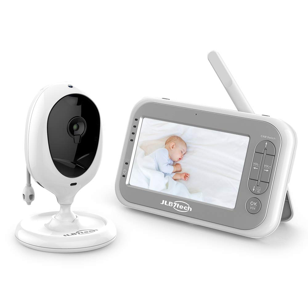 Video Baby Monitor,JLB7tech Baby Monitor with 1 Camera and Audio,4.3'' LCD Screen, Infrared Night Vision,Two-Way Audio,Temperature Monitoring,Power Saving Mode,Zoom in,Support Multi Camera