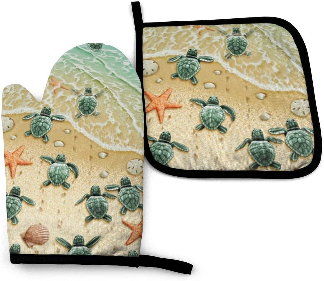 Antvinoler Turtles On The Beach Oven Mitt Pot Holders Sets,Insulation Gloves Non-Slip Surface for Safe Cooking Pot Baking Grilling Barbecue Etc Daily Needs