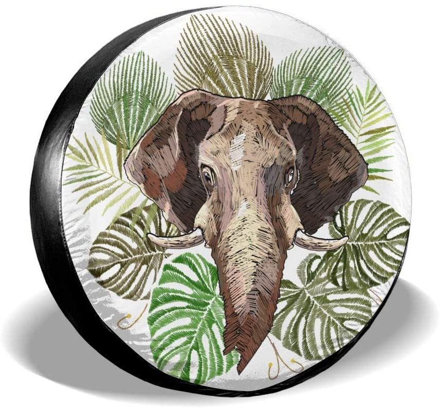 UU Spare Tire Cover Tire Cover Elephant Polyester Universal Dust-Proof Waterproof Wheel Covers for Jeep Trailer Rv SUV Truck and Many Vehicles(15in)