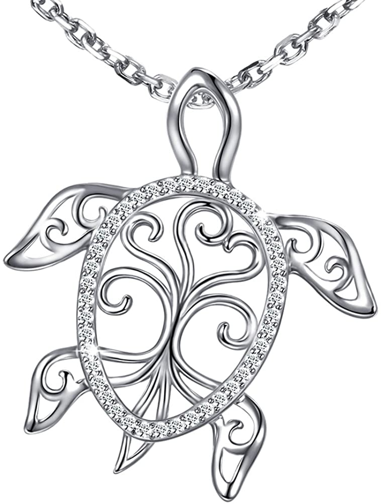 Sterling Silver Sea Turtle Necklace Tree of Life Tortoise Pendant Holiday Beachy Mothers Day Jewelry Gift for Ladies Women Mom Ocean Lover