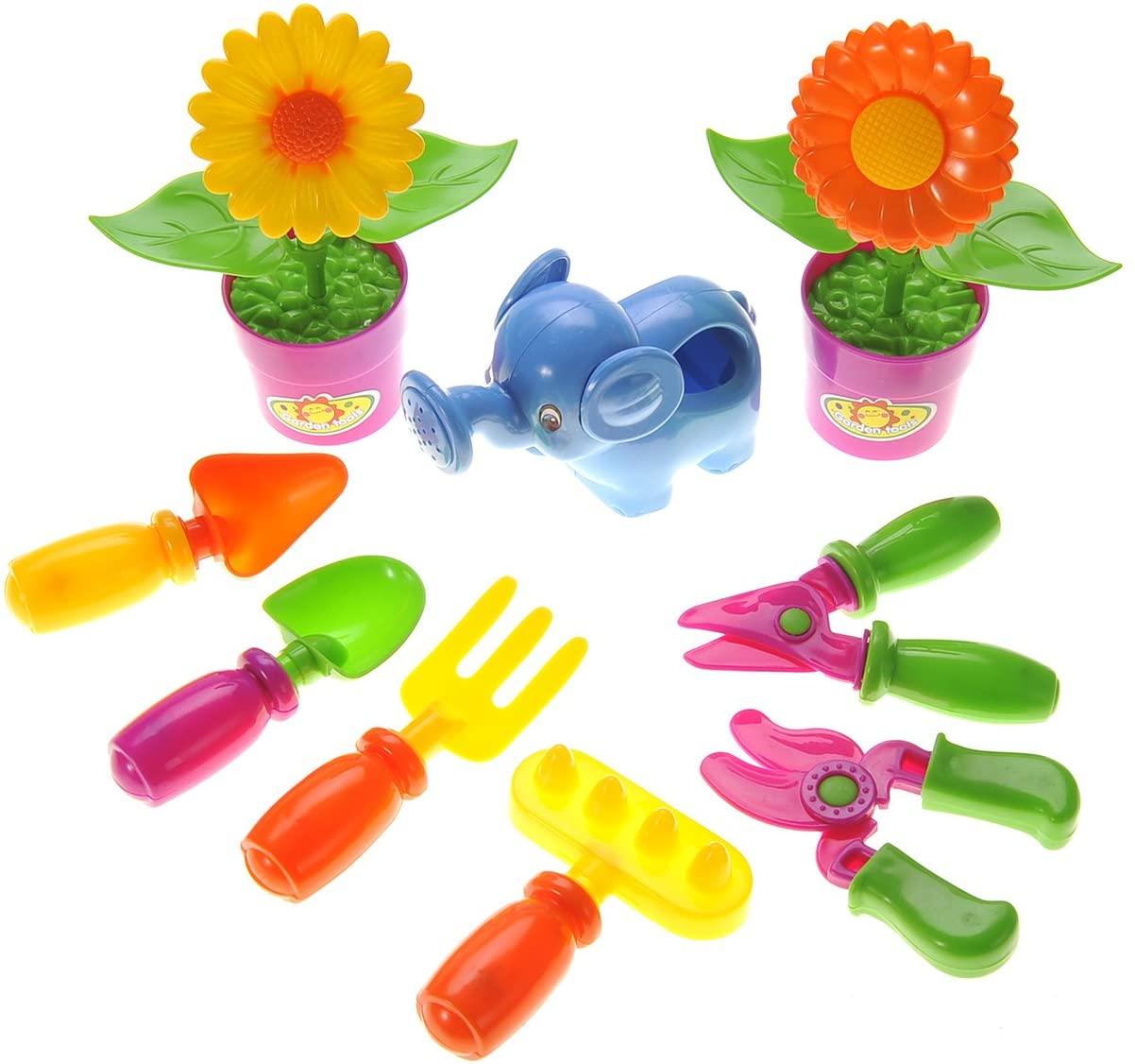 PowerTRC Little Garden Tool Playset   Kids Pretend Play Gardening   9 Garden Tools and Plants Pieces