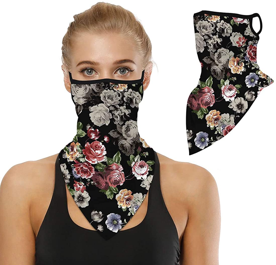 Men Women Face Mask Scarf Bandana Ear Loops Face Neck Gaiters for Dust Mask