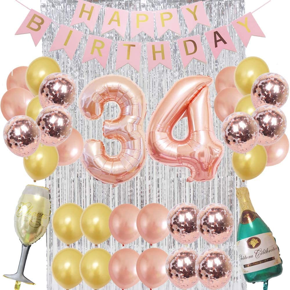 34th Birthday Decorations Rose Gold Foil Balloons, Champagne&Glass, Silver Fringe Curtain, Happy Birthday Banner, Confetti Balloons, Happy Birthday Decorations for Women, 34 Years Old Great Gifts