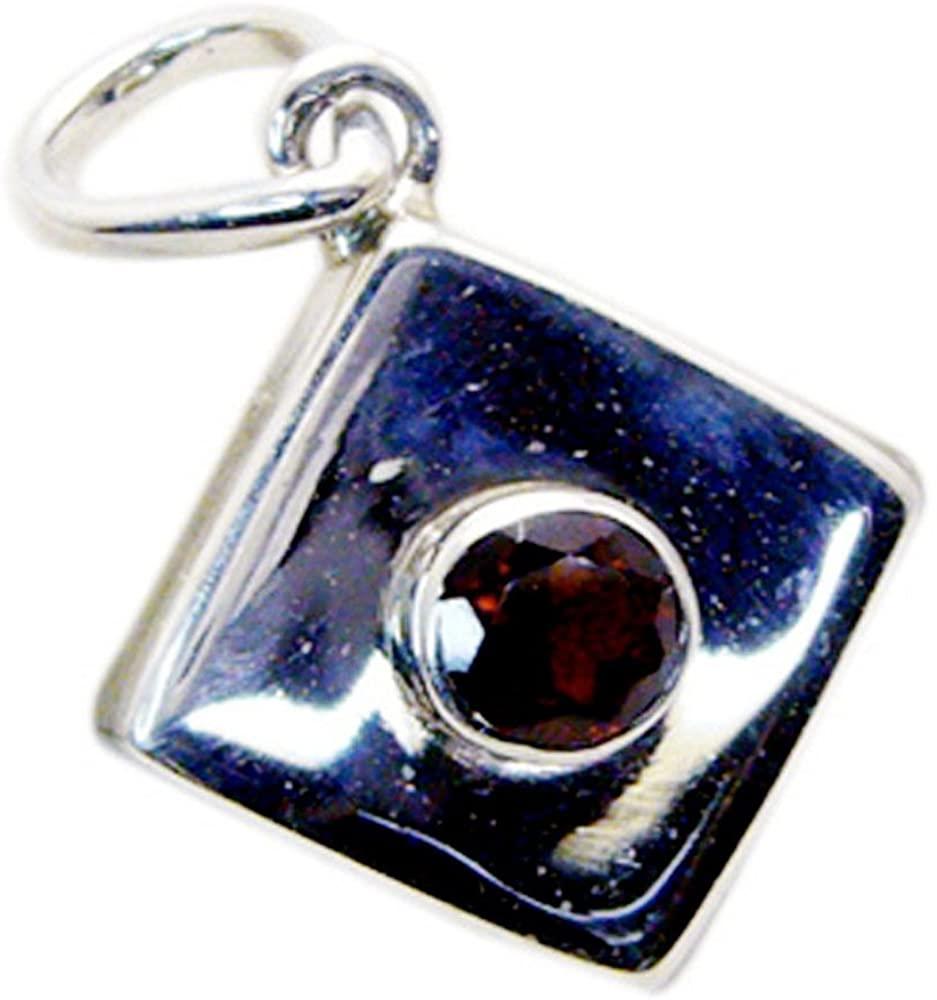 GEMSONCLICK Original Garnet Pendant for Women Sterling Silver January Birthstone Necklace Round Shape