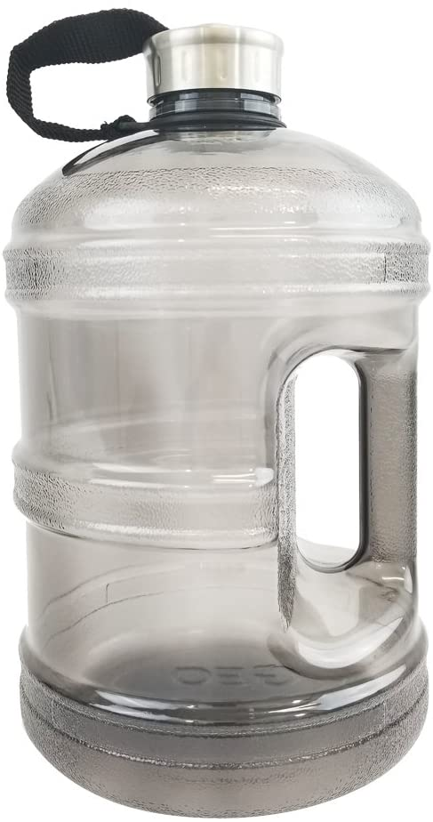 1/2 Gallon or 1 Gallon BPA Free Reusable Plastic Drinking Wide Mouth Water Bottle Jug Container with Holder Stainless Steel Cap