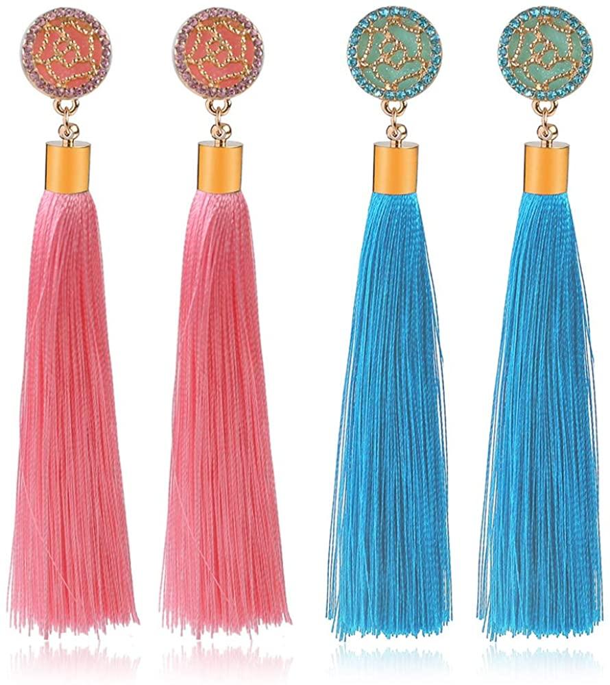 D.Rosse 2 Pairs Rose Flower Tassel Earrings Bohemian Long Dangle Drop Earrings for Women Elegant Vintage Fringe Stud Earrings Girls Gifts