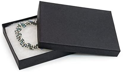 25 Piece Pack Black Matte Cotton Filled Lidded Jewelry Gift Box Necklace, Belt Buckle, Pendant, Brooch, Bracelet, Bangle, anklet -Size 5.25