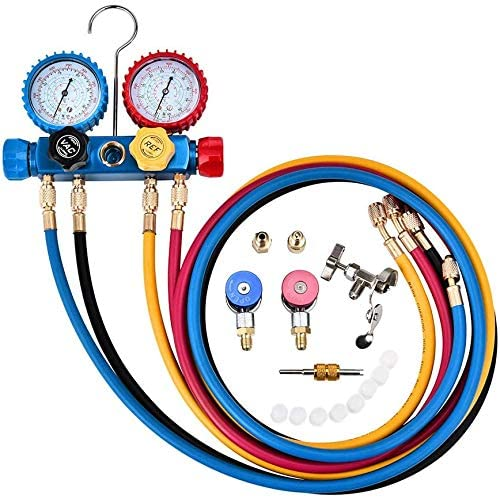 KKTECT Refrigeration Gauge 4 Way AC Diagnostic Manifold Gauge Set for Freon Charging and Vacuum Pump Evacuation, Fits R134A R410A and R22 Refrigerants, with 5FT Hose, 3 Acme Tank Adapters