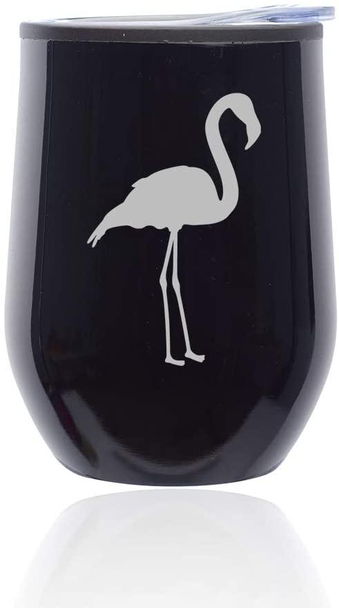 Stemless Wine Tumbler Coffee Travel Mug Glass with Lid Flamingo (Midnight Black)