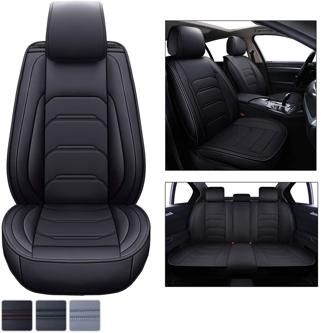 Seat Covers for Cars PU Leather Trucks SUV Car Seat Cover Universal Protector-Waterproof & Nonslip Seat Cover, Easy Dirt & Pet Fur Cleanup No Need to Lift or Disassemble Back Seat