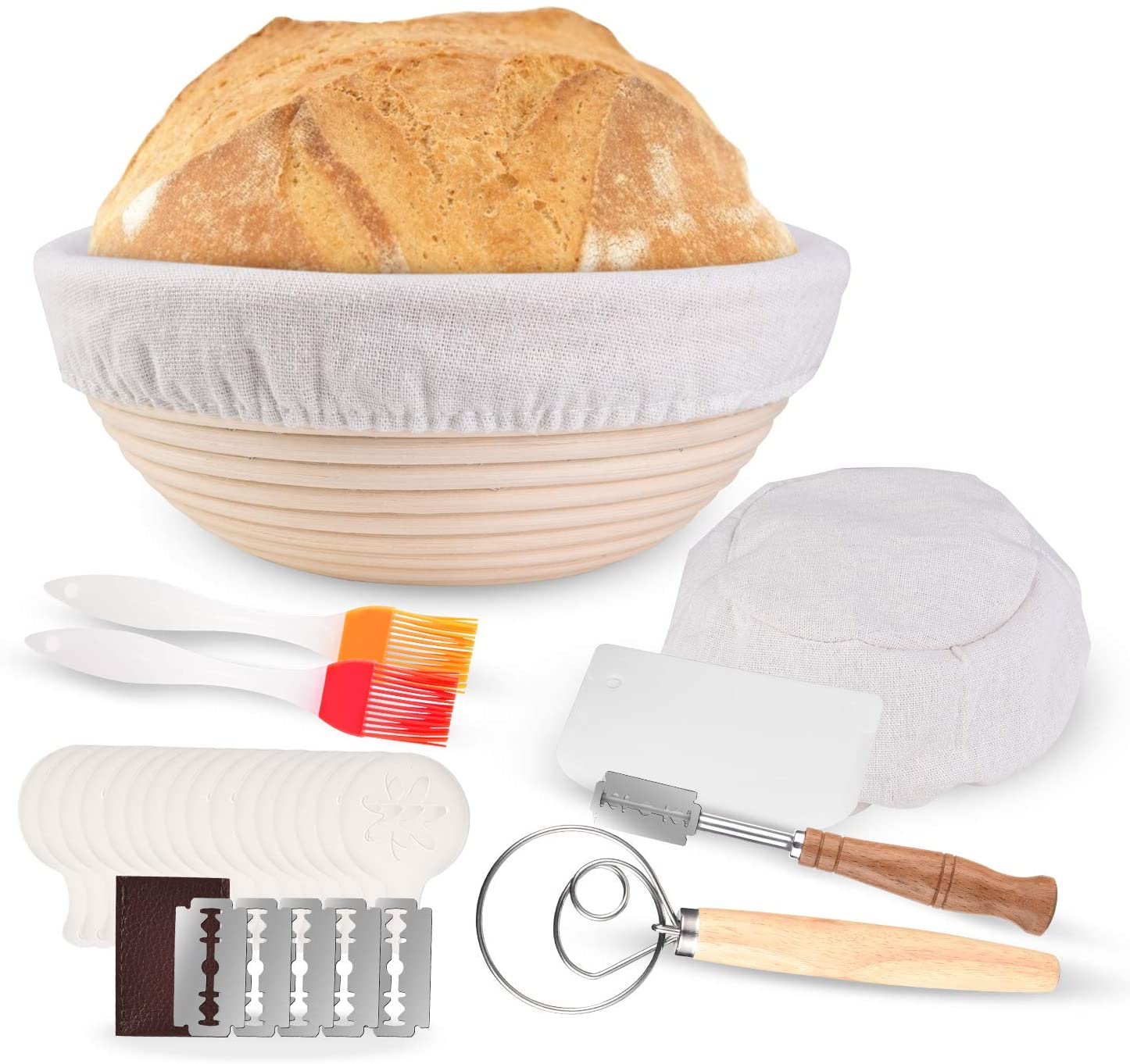 Banneton Proofing Basket, 9 Inch Bread Proofing Basket Kit with Bread Lame,Dough Scraper, Scoring Lame,Dough Whisk 28PCS Baking Tool for Professional & Home Bakers