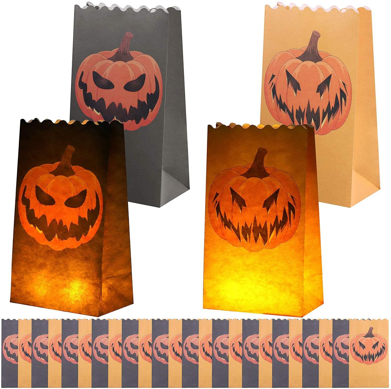 URATOT 24 Pieces Jack-o'-Lantern Luminary Bags Halloween Pumpkin Paper Luminary Bags Flame Resistant Candle Bags Paper Lantern Luminary Bags with 2 Pumpkin Patterns for Halloween Party Decor