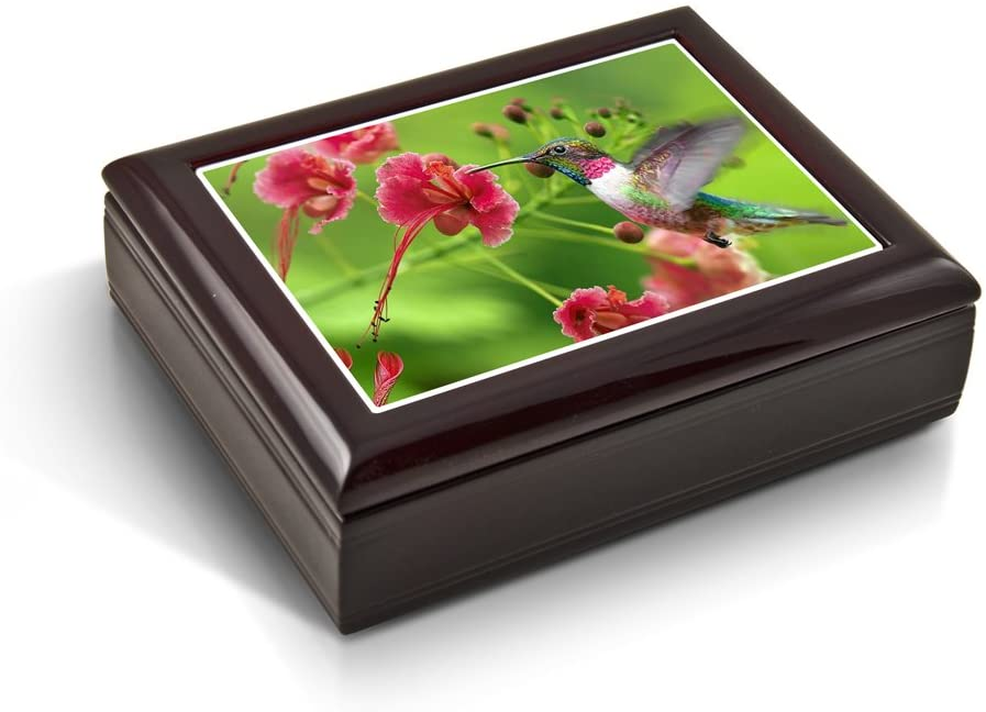 Frozen in Time; Hummingbird Tile Musical Jewelry Box - Many Songs to Choose - Parade of The Wooden Soldiers