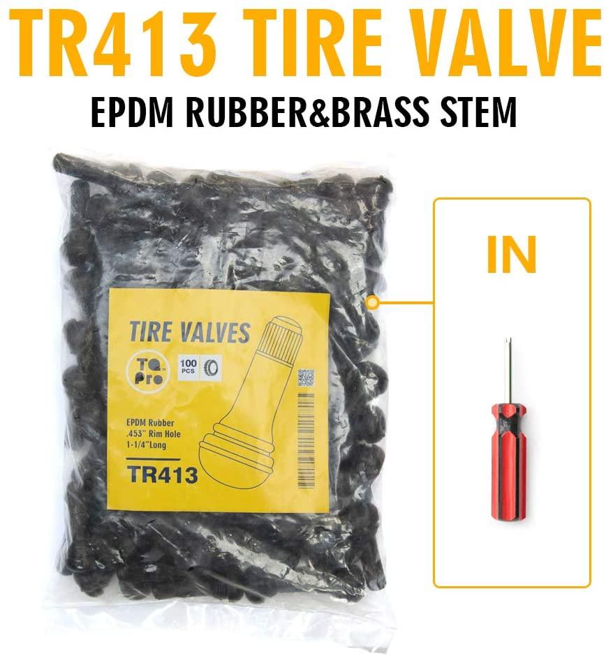 TQ Pro. TR413 Rubber Snap-in Tire Valve Stem (100 pcs/Bag) (Valve Tool in)
